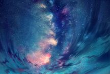 Anime starry sky landscapes