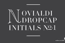Novialdi Dropcap Initials No. 1 / Each of the letter of this typeface set is designed to be used mostly as the center piece of a design and to be use in single or two letters at a time. Most often they are used as dropcaps to attract the viewer's attention to a beginning of a passage or a poster.