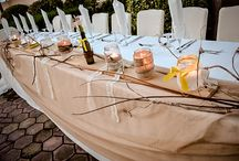 Outdoor rustic wedding decoration / Wedding decoration with yellow & wood touch