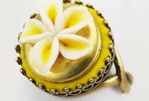 Flower Locket Rings / Handcrafted flower locket rings including sunflower, daisy, poppy, rose and lily locket rings