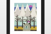 Animal Illustrations - Art Prints & Stationery / Cute fox, dog,cat, wolf, horse, bear and all animal illustrations. art prints, cards, and stationery.