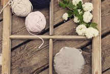 Window art / Our pompons and crochet baskets in beutiful photosession. Vintage:)
