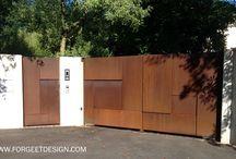 Porte et portail acier, verre, bronze, corten. Déco, art, design / Ce tableau intègre nos portes et portail en bronze, acier corten, verre, laiton. Celles sont vintage, art, design, luxe.
