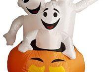 Inflatable Pumpkin & 3 Ghosts Figure Festive Halloween Outdoor Decoration 122cm