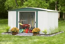 Arrow Hamlet Series Steel Storage Sheds / The Hamlet Series is available in 6' x 5', 8' x 6', and 10' x 8' footprint sizes to fit a variety of small and large storage needs. A low gable roof design, dual sliding doors and appealing two tone aesthetics in Eggshell & Green makes for an economical storage solution