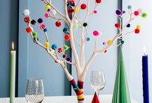Pom poms Christmas tree