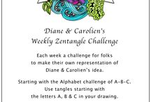 Diane & Carolien's Challenge / Diane & Carolien's Zentangle Challenge entries. Come join us at http://www.dianeclancy.com/blog/diane-caroliens-weekly-zentangle-challenge/
