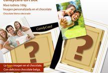 """CandyCard / Con CandyCard Personalizado vas poder crear un regalo realmente original y único. Puedes elegir cualquiera imagen, la tuya, para poder """"imprimir"""" directamente en el chocolate."""
