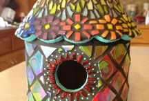 Mosaic bird houses styles