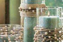 Vases / String pearls on twine and wind around vases or candle holders.