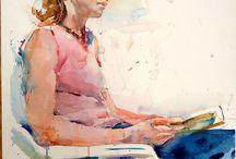 donna seduta  sulla sedia appena accennata Suee van.flet