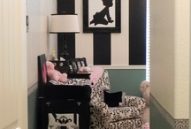 My Daughter's Nursery / I needed a gender neutral nursery color and black and white just popped out!  I designed this nursery myself, picked out the patterns and even made the silhouette pictures myself!