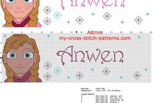 Cross stitch names with Disney Princess Frozen Anna / Cross stitch names with Disney Princess Frozen Anna, free cross stitch patterns