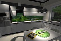 Kuchnie, salony, ankesy / Projekty kuchni, salonów, przestrzeni otwartych, aneksów kuchennych.