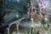 dibujos ciudades de fantasía