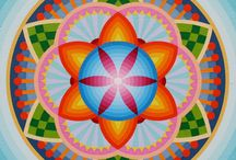 Mandalas made with oil paint by Peter deJong. / Mandalas made with oil paint on panel.
