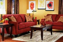 yellow and red/brown living room