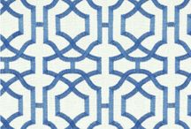 Wallpaper / blue, white & beige