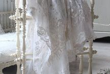 aged linens ,lace, shades