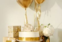 Gold and blue baby shower