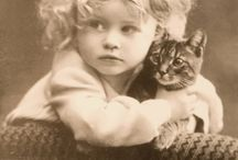 Vintage portraits with cats