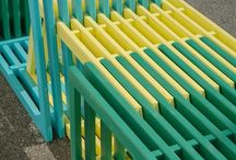 Intersections / As each module slides into the other, like two combs, form and colour meet and interweave. Together the shapes create a sculptural installation or street furniture. This flexible work inspires interaction and invites people to use the objects in a variety of ways.  #architecture #playground #playstructure #street futniture