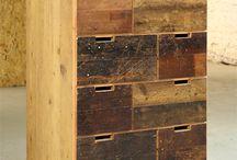 Reused floorboard furniture