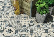 nadja bathroom option 1 / pattern floor tiles, white wall tiles, black cabinet.