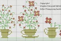 Point de croix fleurs fruits légumes