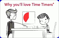"""Time Timer / The Time Timer is a visual timer. As time elapses, the bright red disk gradually disappears, showing you how much time is left. Children instantly understand that """"no red"""" means time is up. And unlike most children's timers, the Time Timer features a professional look and feel, enabling teens, adults and seniors to use it too. You may have seen the Time Timer on the cooking show """"Rocco's Dinner Party"""" or in the Washington Post, Chicago Tribune and USA Today. Available at timetimer.com / by Time Timer LLC"""