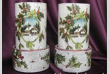 Candlesticks 'Frosty evening' (set of 2) / Candlesticks 'Frosty evening' (set of 2) decoupage, decorations, handicrafts, home products, creative, hobbies, ideas, interior, restoration, napkin technique, gifts, christmas