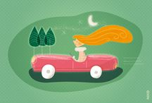 CARS & GIRLS / Men are still too often associated with cars. And girls, then? They also love cars that guarantee their freedom and reflect their character. It was urgent to put things in place and to dedicate to them this series of illustrations! Let's ride girls! ;)