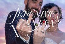 Wedding Lettering: letras personalizadas para bodas / Letreros personalizados realizados por Sabina Martínez Abellán, diseñadora gráfica y colaboradora de lujo. Realizados a mano y posteriormente digitalizados para insertarlos en la portada y en una de las fotos del álbum de boda.