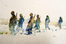 figure in landscape- watercolor
