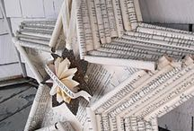 Rolled paper star / Book pages / sheet music