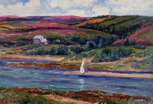 Henri Moret / Henry Moret, né à Cherbourg le 12 décembre 1856, mort à Paris le 5 mai 1913, est un peintre français. Il a surtout peint la Bretagne (sud du Finistère principalement et littoral du Morbihan) et les îles bretonnes de l'Océan Atlantique (Groix, Belle-Île, Houat, Ouessant), un peu la Manche et les Pays-Bas. « Avant tout épris de la mer, c'est sa vision personnelle qu'il transcrit dans une fusion de deux styles opposés entre lesquels il ne peut trancher : synthétisme ou impressionnisme » (wikipedia)