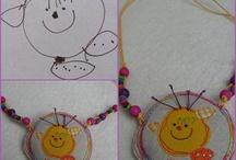 my softie jewellery / my textile jewellery made from drawings of kids