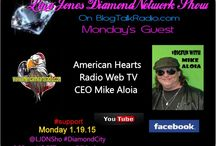 #LJDNShow 1-19-15 Lina Jones #DiamondNetwork Show / This board show pictures of my guest, the musicians music I played during the show and the link to the show. Only live shows are displayed. Lina's guest and musicians receive Free exposure via social network postings during the week of their interview in 5 major social networks we are growing join us. LJDNShow every Mon. live at 6:00pm EST call or Skype in  to talk to a guest at #347-237-4697. Check out the shows website at http://ljdnshow.com thank you for your #support.