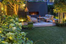 Outdoor fireplace garden designs