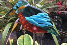 Fused glass birds by Sharon Cherry Glass / sharon cherry glass staked birds are ideal for in the house in large pot plants or in the garden. Visit http://www.sharoncherryglass.com for more!