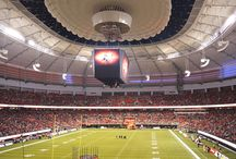 BC Place Retractable Roof / BC Place in Vancouver, Canada has been transformed into a year-round, open-air facility with an innovative retractable roof featuring SEFAR® Architecture's TENARA® Architectural Fabric. The renovated facility is once again an iconic architectural landmark for the province.  The most prominent element of the new stadium roof is the inner, retractable TENARA Fabric roof that extends from the center of the stadium where it's hidden inside of a pod above the videoboard to a fixed outer roof.