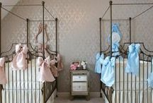 Creating a Twins Nursery / Putting together a baby room for twins has special challenges. Bratt Decor showcases the most beautiful twins nursery's designed to inspire you.   #nursery #design for #twins featuring #brattdecor's gorgeous line of #infant #furnishings.#twinboys #twingirls