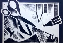 Printmaking / Cardboard, linocut, monoprint and monotype