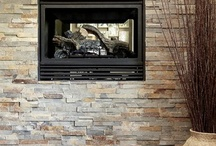 Stone wall fireplace / Soft tones