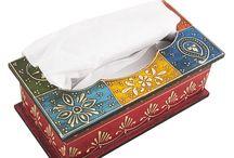 Multicolored Madhubani Painted Wooden Tissue Box