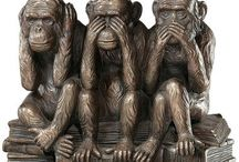 Three Wise Monkeys / What on earth attracts me to hear no/see no/say no evil?  Whatever it is, it all started while I was working.  This wee reminder adorned my office in many shapes and sizes - and they were great reminders for both me and those who sat inside those walls :)