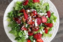 Strawberry salad with pecans and feta