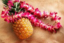Aloha Life / Custom driftwood tea light candle holders, Hawaiian fresh flowers, kukui nut & ti leaf leis, messages in a bottle...