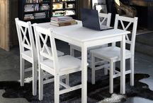 Wooden Dining Table Kitchen Chairs Coffee Set Kitchen Home Furniture Room White