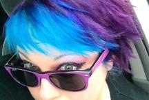 Purple blue blonde hair